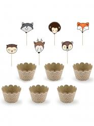 6 Moules à cupcake et pics en bois animaux forêt 5 x 7,5 x 5 cm