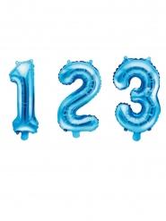 Ballon en aluminium chiffre bleu 35 cm