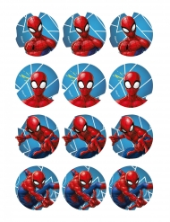 12 Décorations en azyme pour biscuits Spiderman™ 5,8 cm