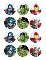 12 Décorations en amidon pour biscuits Avengers™ 5 x 8 cm