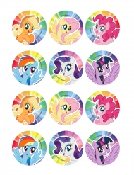 12 Décorations en sucre pour biscuits My Little Pony™ 6 cm