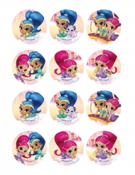 12 Décorations en sucre pour biscuits Shimmer and Shine™ 6 cm