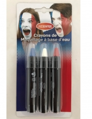 3 Crayons maquillages tricolore France