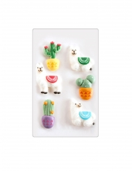 6 Mini figurines en sucre lamas et cactus 18 gr