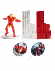 Kit décoration gâteau Iron man™ 8 cm