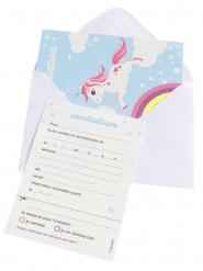 6 Cartons d'invitation avec enveloppes licorne magique bleue