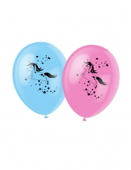 6 Ballons en latex licorne magique bleus 30 cm
