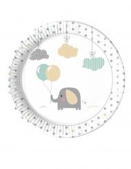 8 Assiettes en carton bébé Eléphant 23 cm