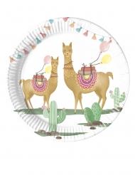 8 Petites assiettes en carton Lama Party 20 cm
