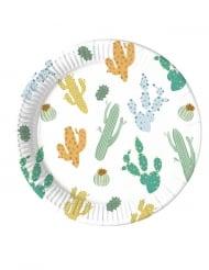 8 Assiettes en carton biodégradable cactus 23 cm
