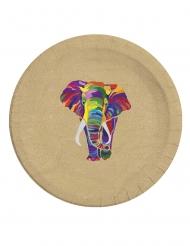 8 Assiettes en carton compostable éléphant multicolore 23 cm