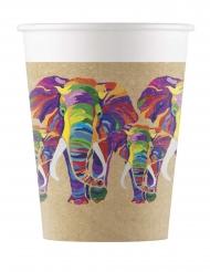 8 Gobelets en carton éléphant multicolore 200 ml