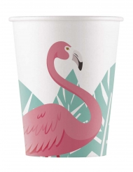 8 Gobelets en carton Flamingo 200 ml