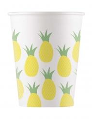 8 Gobelets en carton ananas 200 ml