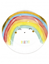 8 Assiettes en carton rainbow party 23 cm