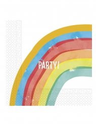 20 Serviettes en papier rainbow party 33 x 33 cm