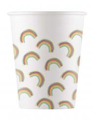 8 Gobelets en carton rainbow party 200 ml