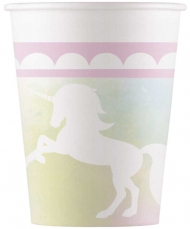 8 Gobelets en carton Licorne pastel 200 ml