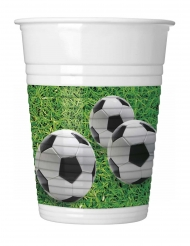 8 Gobelets en plastique football party 200 ml