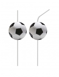 6 Pailles flexibles médaillons en plastique football party