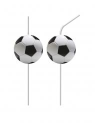 6 Pailles flexibles médaillons en plastique football party