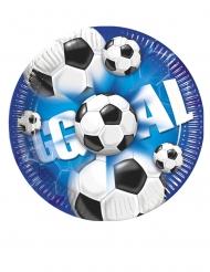 10 Petites assiettes en carton football goal 20 cm