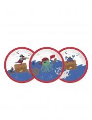 8 Assiettes en carton pirates dans la mer 23 cm