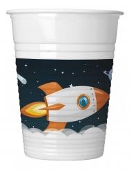8 Gobelets en plastique cosmos 200 ml