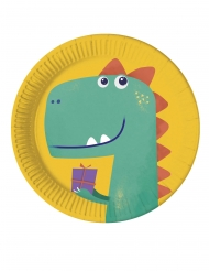 8 Assiettes en carton compostable dinosaure party 23 cm