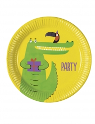 8 Assiettes en carton croco party 23 cm