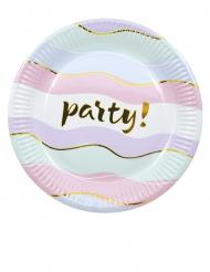 8 Petites assiettes en carton Elegant Party pastel 20 cm