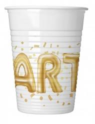 8 Gobelets en plastique Party blanc et doré 200 ml