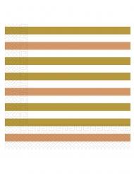 20 Serviettes en papier doré, rose gold et cuivré 33 x 33 cm