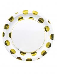 8 Assiettes en carton à pois métallisé doré 23 cm