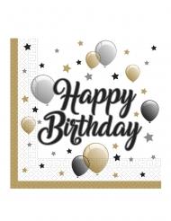 20 Serviettes en papier happy birthday doré noir argent 33 x 33 cm