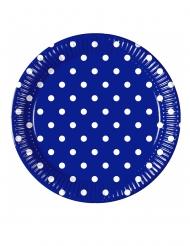 8 Assiettes en carton bleu roi à pois 23 cm