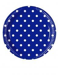 8 Petites assiettes en carton bleu roi à pois 20 cm