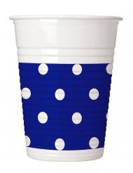 8 Gobelets en plastique bleu roi à pois 200 ml