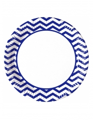 8 Assiettes en carton bleu roi chevron 23 cm