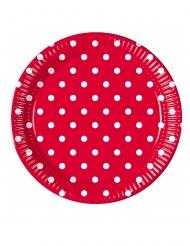 8 Assiettes en carton rouge à pois 23 cm