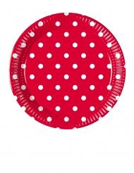 8 Petites assiettes en carton rouge à pois 20 cm