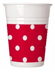 8 Gobelets en plastique rouge à pois 200 ml