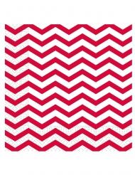 20 Serviettes en papier rouge chevron 33 x 33 cm