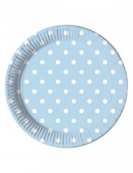 8 Assiettes en carton bleu ciel à pois 23 cm
