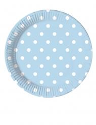 8 Petites assiettes en carton bleu ciel à pois 20 cm