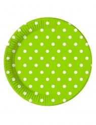 8 Assiettes en carton vert pomme à pois 23 cm