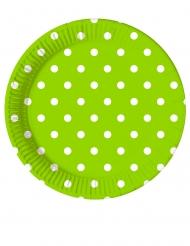 8 Petites assiettes en carton vert pomme à pois 20 cm