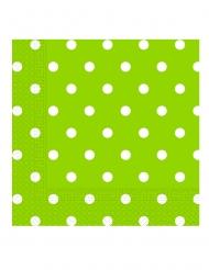 20 Serviettes en papier vert pomme à pois 33 x 33 cm