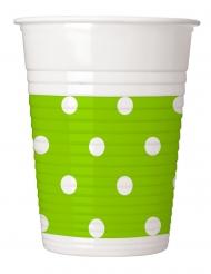 8 Gobelets en plastique vert pomme à pois 200 ml