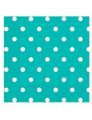 20 Serviettes en papier turquoise à pois 33 x 33 cm